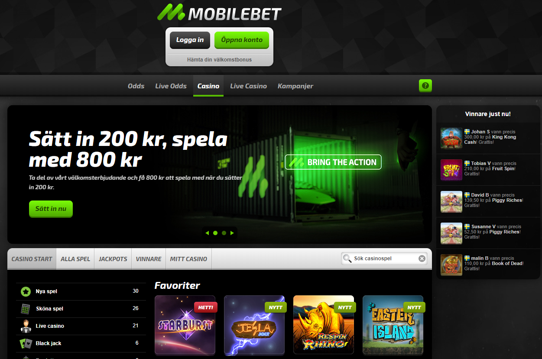 Mobilebet casino lobby